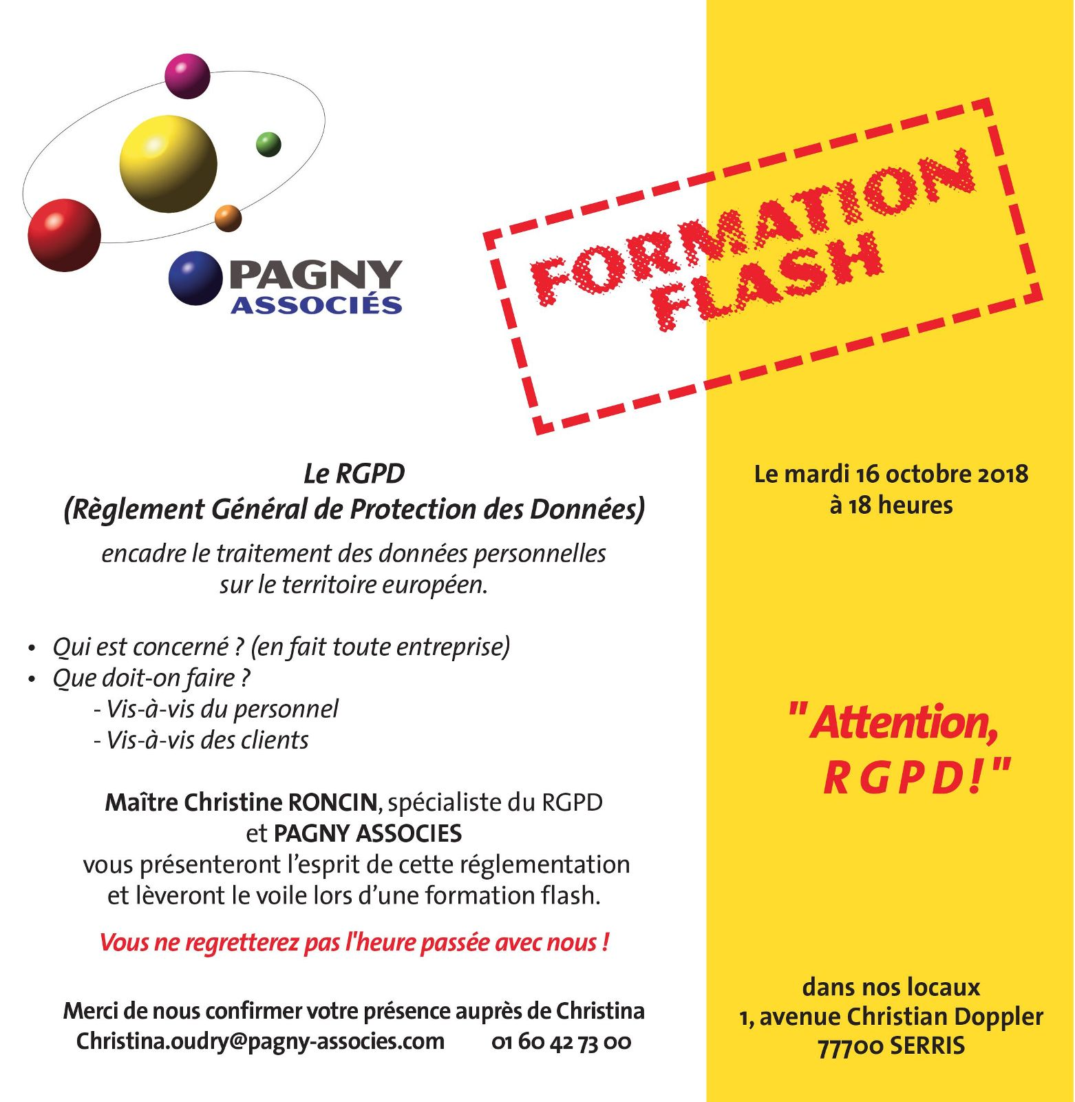 "Formation Flash ""Attention RGPD"" Mardi 16 Octobre 2018 à 18h"